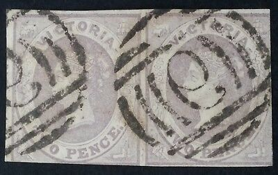 Scarce 1857- Victoria Australia Pair of 2d Pale lilac imperf Emblem stamps used