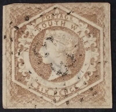 Rare 1855- NSW Australia 6 d fawn Imperf Large Diadem Stamp WMK 8 Used