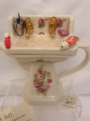 Teapottery Swineside Novelty Collectable Teapot Victorian Sink Perfect Condtion