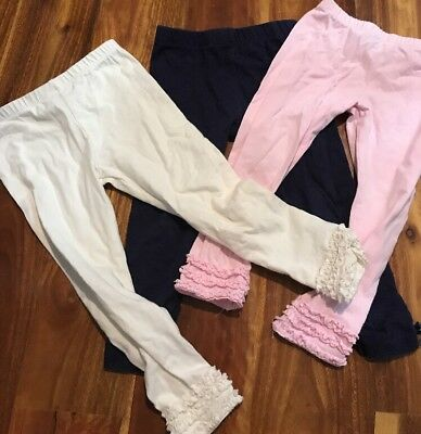 Sprout Tights Pink Navy Cream Girls Size 2 X 3 Pairs