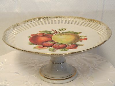 Vtg German White Porcelain Pierced Pedestal Tidbit Tray/Plate-Fruit Design-Gilt