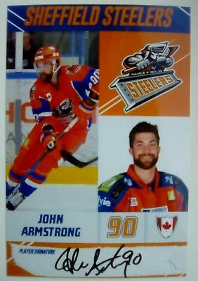 Auto'd JOHN ARMSTRONG 2017-18 Sheffield Steelers team issued photo
