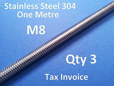 3 X STAINLESS STEEL ALLTHREAD M8 304ss ONE METRE 1000mm x 8mm THREADED ROD BAR
