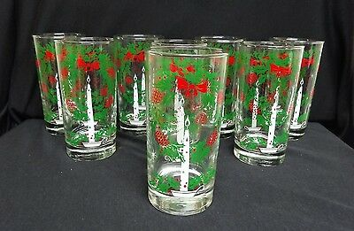 Vintage Holly Wreath Drinking Tumblers - Lot of 8 Christmas Glasses   EUC!