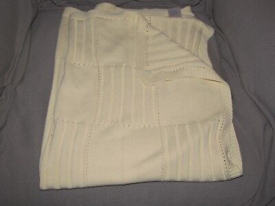 Koala Baby Light Yellow Cable Knit Ribbed Baby Blanket 100% Cotton Toys R Us EUC