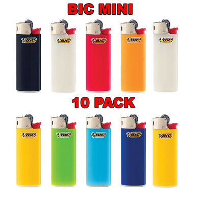 10 PACK Bic Mini Size Assorted Plain Colors Disposable Lighters Classic