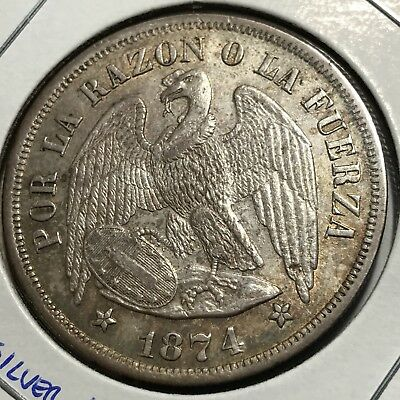 1874 Chile Silver One Peso Crown Almost Uncirculated Beauty