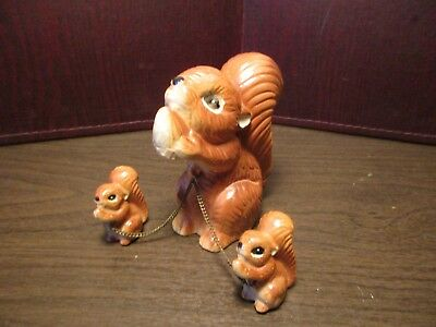 Vintage Ceramic Figurines - Squirrel - Mother & Babies - Chained Trio - Japan