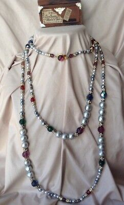 Vtg Antique Art Deco Or Victorian  Baroque Pearl French Crystal Necklace 74 Inch