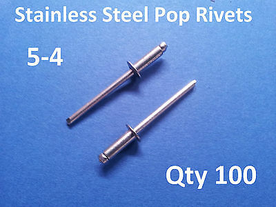 100 POP RIVETS STAINLESS STEEL BLIND DOME 5-4 4mm x 10.2mm 5/32""