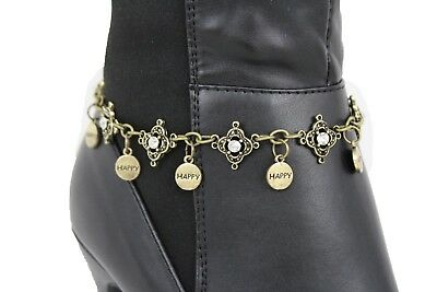 Women Boot Bracelet Gold Metal Chain Water Silver Bling Anklet Happy Charm Beads