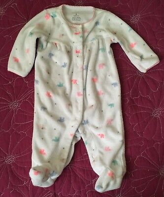 Carter's Baby Girl 3 Months Terry Cloth Footed Sleeper Pajamas Elephants