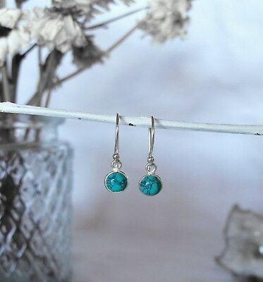 315D Turquoise 6mm gemstone earrings solid 925 sterling silver rrp$29.95