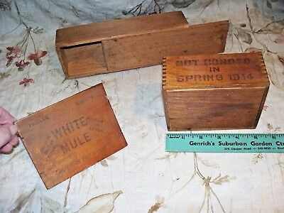 Antique Wooden Dove Tailed Box Lot- Used- Advertising- Distillery- Very Cool
