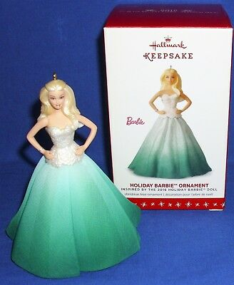Hallmark Christmas Ornament Holiday Barbie #2 in Series 2016 Green & White Gown