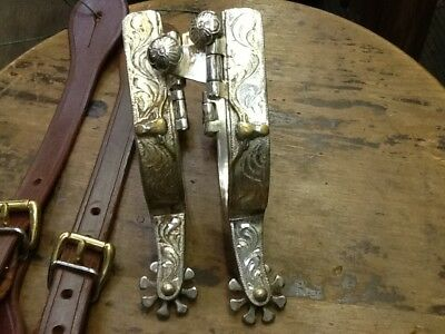 Silver overlay stear head spurs marked CSC MAKER
