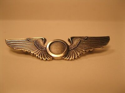 """Us Wwii Army Air Force Observer Badge Wings Balfour Sterling Silver 2"""" Pin Ww2"""
