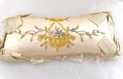 ANTIQUE SMALL EMBROIDERED SATIN PILLOW WITH LACE Beaded Accents