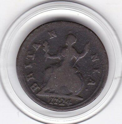 1724   King  George   Farthing   (1/4d)  Copper  Coin