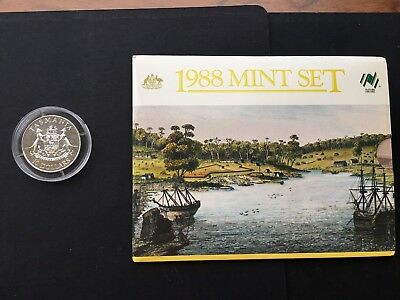 1991 R.A.M. $10.00 STATE SERIES SILVER COIN TASMANIA and 1988 Mint set