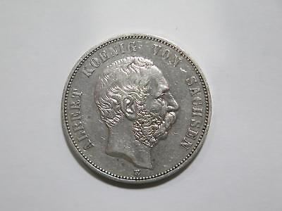 Germany Saxony 1875 E 5 Funf Mark Silver Crown Old World Coin Collection Lot