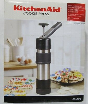 New Kitchen Aid Cookie Press Stainless Steel Spring Loaded Lever 12 Discs 681041