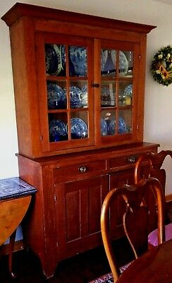 1830-40 Cherry 2 piece Step Back Cupboard with 6 pane glass doors- Probably Ohio