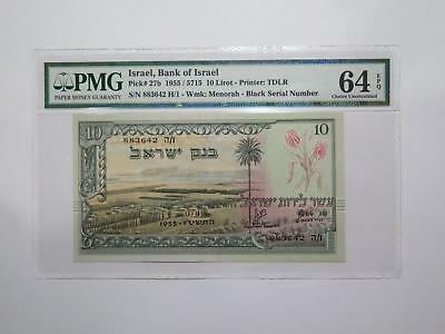 Bank Of Israel 1955 10 Lirot Pmg Epq Graded World Banknote Collection Lot