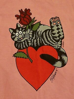 nos/nwt Vintage 80s KLIBAN cat tee XS pink rose+ s/s t-shirt valentine's day 1D