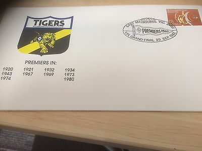 1982 Richmond Tigers VFL AFL First Day Cover Stamps Memorabilia Collectable 30yr
