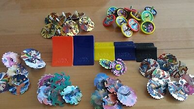 Bulk lot of Collectible Beyblade topz tazo's and Stunt wheel tazo's with ramps