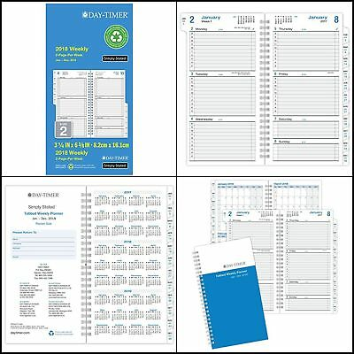 """3.5x6.5"""" 2018 Day Timer Wirebound Weekly Pocket Planner Calendar Refill Pages"""