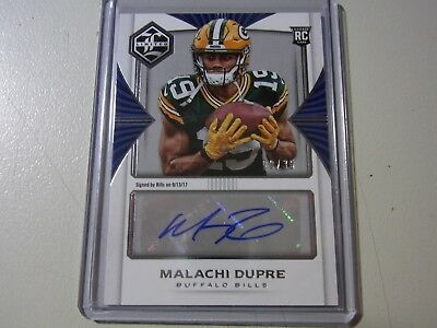 2017 Panini Limited Blue Parallel Rookie Auto Card Malachi Dupre Bills #29/35