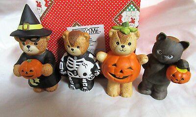 Lucy & Me ~ Witch Cat Skeleton Pumpkin Costume ~ Halloween Figurines 4PC NIB