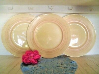 VINTAGE DINNER PLATES X3 ROYAL DOULTON D5666 ART DECO CREAM 26.5CM see more