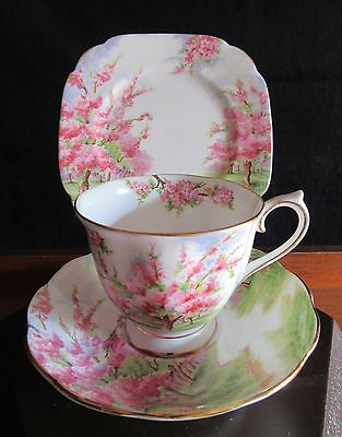 ROYAL ALBERT BLOSSOM TIME TRIO, UNUSED CONDITION MADE IN ENGLAND. C:1940's