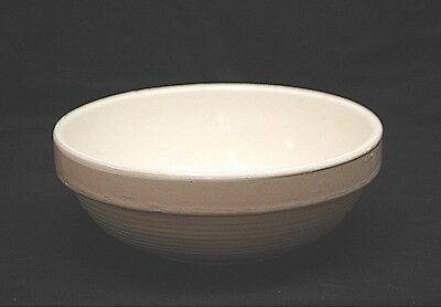 Vintage Stoneware Crock Pottery White Ribbed Ring Mixing Dough Bowl Kitchen Tool