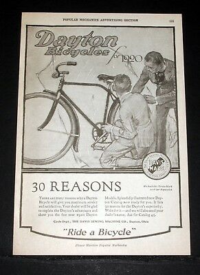 1920 Old Magazine Print Ad, Dayton Bicycles, 30 Reasons For Dayton Superiority!