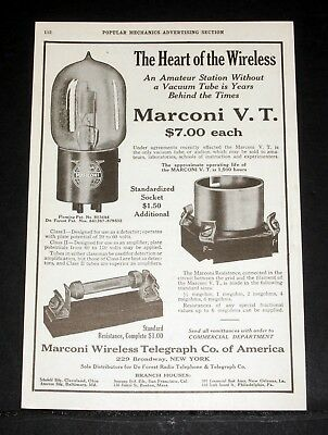 1919 Old Magazine Print Ad, Marconi V.t. Vacuum Tube, The Heart Of The Wireless!