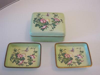 Stunning Vintage Chinese Enamelled Metal Lidded Box With 2 Dishes
