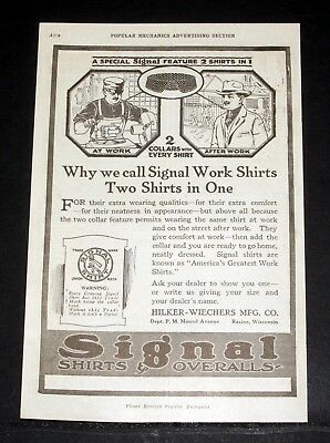 1919 Old Magazine Print Ad, Signal Shirts & Overalls, Extra Wearing Qualities!