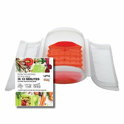 Lekue 1-2 Person Steam Case With Draining Tray and Bonus 10 Minute Cookbook,