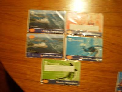 TELSTRA  phoneaway traveland $1 $2 $30 $50 AND $100 NICE LOT 5  MINT       D97