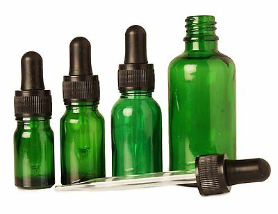 6 Pcs Green Glass Pipettes Dropper With Black Cap Empty Container Round Bottles