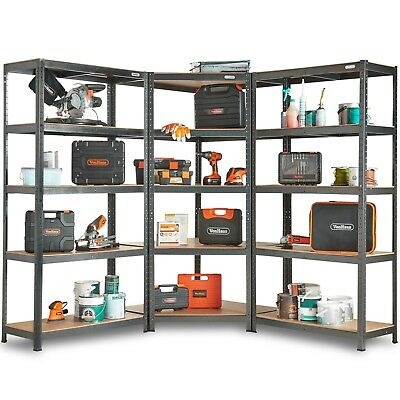 VonHaus 5 Tier Garage Shelving 3pc Corner Bundle – Metal Racking 2625KG Capacity