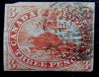 CAN #   4   3p red beaver used 1852-57 cat 225 us