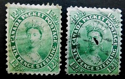 CAN #   18   6 pence  green 2x Queen Victoria  1859 used cat 260 us