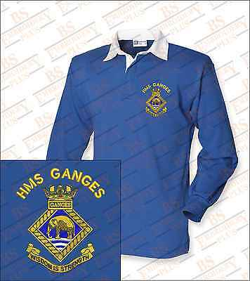 HMS GANGES Embroidered Crested L/S Rugby Shirt