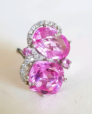 Less than half price, Pink CZ Cocktail Ring, size 7 US