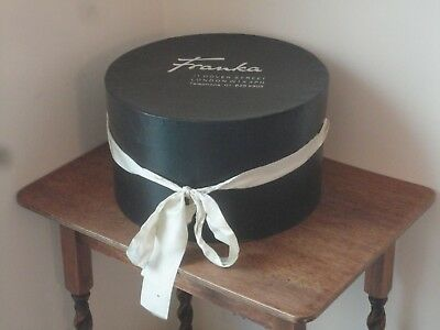 Vintage ? Franka Dover Street London Hat Storage Box Black With Ribbon D1